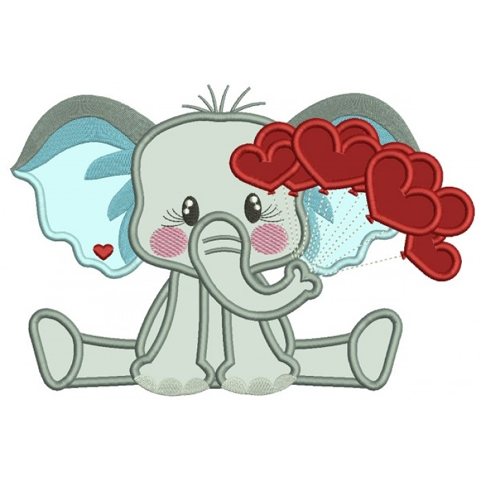 Little Elephant Holding Hearts On The String Applique Machine Embroidery Design Digitized Pattern