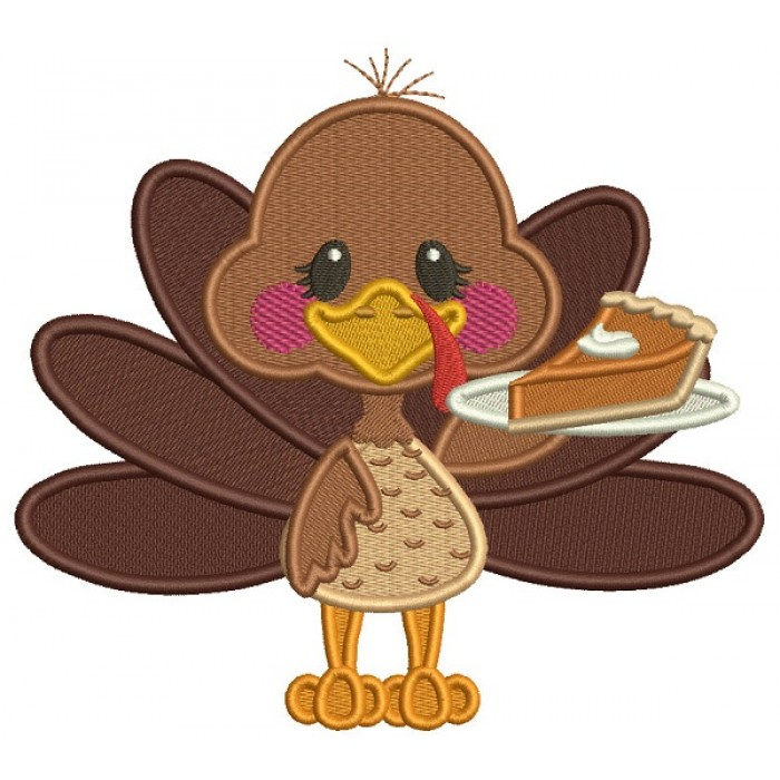 Little Turkey Holding Piece Of Pumpkin Pie Fall Filled Thanksgiving Machine Embroidery Design Digitized Pattern