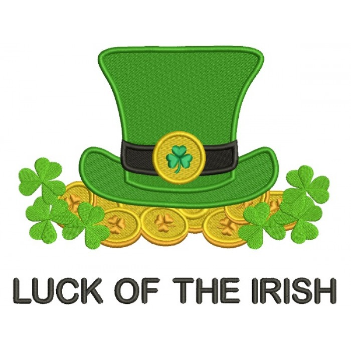 Luck Of The Irish Coins And a Hat St. Patrick's Filled Machine Embroidery Design Digitized