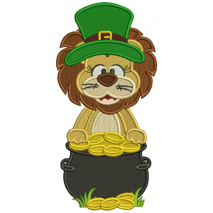 Lucky Lion With A Pot Of Gold St. Patrick's Filled Machine Embroidery Design Digitized Pattern