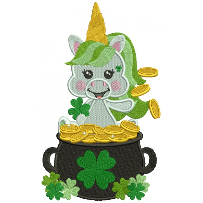 Lucky Unicorn Sitting In The Pot Of Gold St. Patrick's Filled Machine Embroidery Design Digitized Pattern