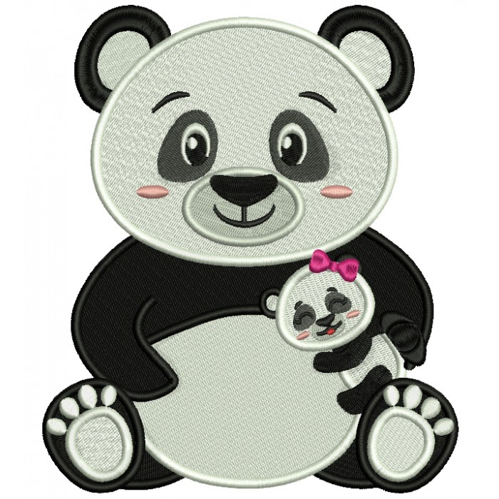 Mama Panda With a Baby Panda Filled Machine Embroidery Design Digitized Pattern