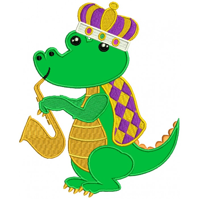 Mardi Grass Alligator Waring a Crown And Palying Saxophone Applique Machine Embroidery Design Digitized Pattern