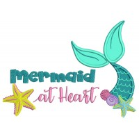 Mermaid At Heart Applique Machine Embroidery Design Digitized Pattern
