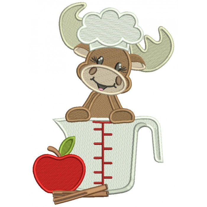 Moose Cook with an Apple Cooking Filled Machine Embroidery Design Digitized Pattern