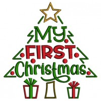 My First Christmas Tree And Gifts Applique Machine Embroidery Design Digitized Pattern