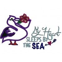 My Heart Sleeps by The Sea Pelican Applique Machine Embroidery Design Digitized Pattern