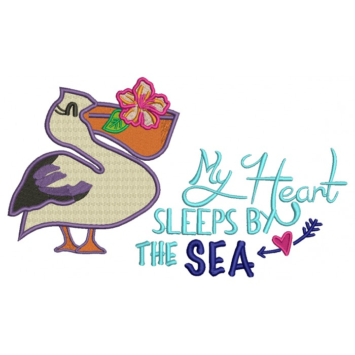 My Heart Sleeps by The Sea Pelican Filled Machine Embroidery Design Digitized Pattern