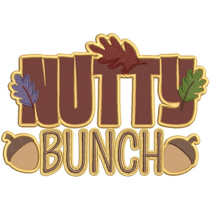 Nutty Bunch Fall Applique Thanksgiving Machine Embroidery Design Digitized Pattern