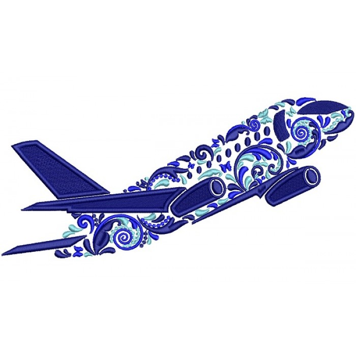 Ornate Airplane Filled Machine Embroidery Design Digitized Pattern