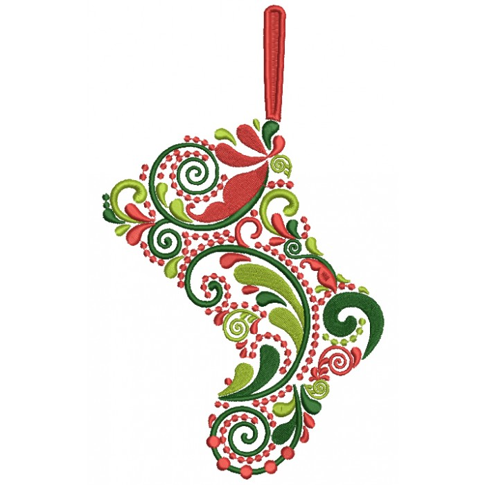 Ornate Boot Christmas Ornament Filled Machine Embroidery ...