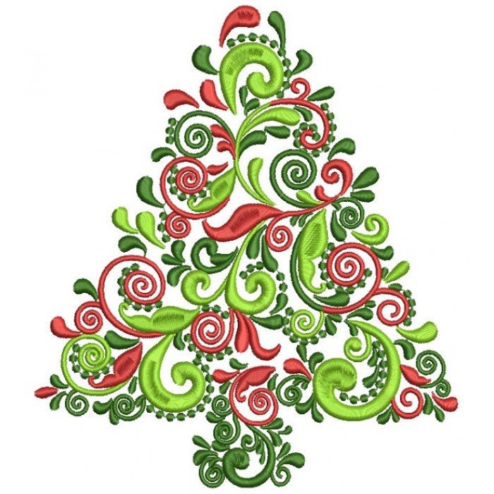 Ornate Christmas Tree Filled Machine Embroidery Design Digitized Pattern