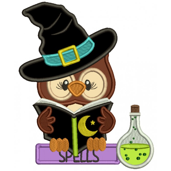 Owl WIzard Reading a Books With Spells Applique Halloween Machine Embroidery Design Digitized Pattern