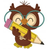 Owl With Big Glasses Holding a Pencil School Applique Machine Embroidery Design Digitized Pattern