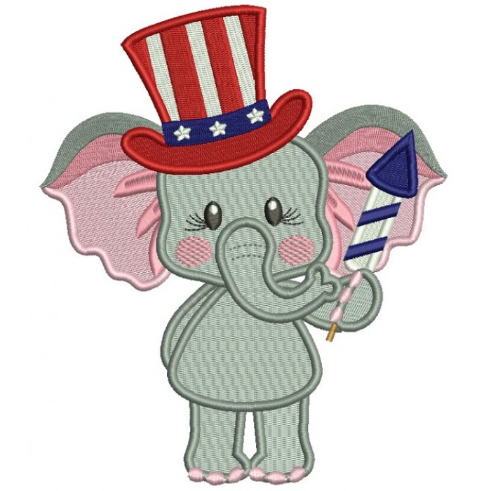 Patriotic Elephant Holding Firecracker Filled Machine Embroidery Design Digitized Pattern