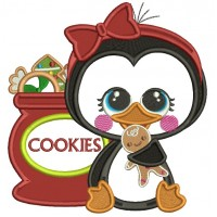 Penguin Holding Gingerbread Man Next To Bag Of Cookies Applique Christmas Machine Embroidery Design Digitized Pattern