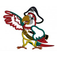 Parrot the Pirate Applique Machine Embroidery Design Digitized Pattern