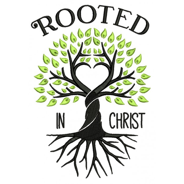 Rooted In Christ Intertwined Tree Religious Filled Machine Embroidery Design Digitized Pattern