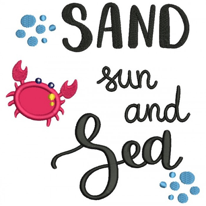 Sand Sun And Sea Little Crab Applique Machine Embroidery Design Digitized Pattern