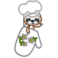 Sloth Cook Holding a Cooking Mitt Applique Machine Embroidery Design Digitized Pattern