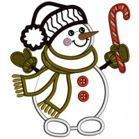 Snowman Holding Candy Cane Christmas Applique Machine Embroidery Design Digitized Pattern