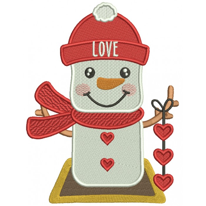 Snowman Holding Hearts Valentine's Day Filled Machine Embroidery Design Digitized Pattern
