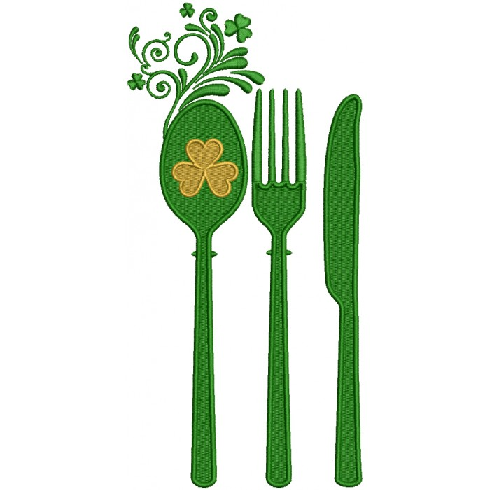 Spoon Knife And Fork Shamrock St. Patrick's Day Filled Machine Embroidery Design Digitized Pattern