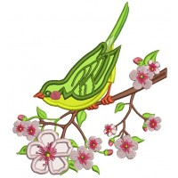 Spring Bird Sitting on the  Branch Applique Machine Embroidery Design Digitized Pattern