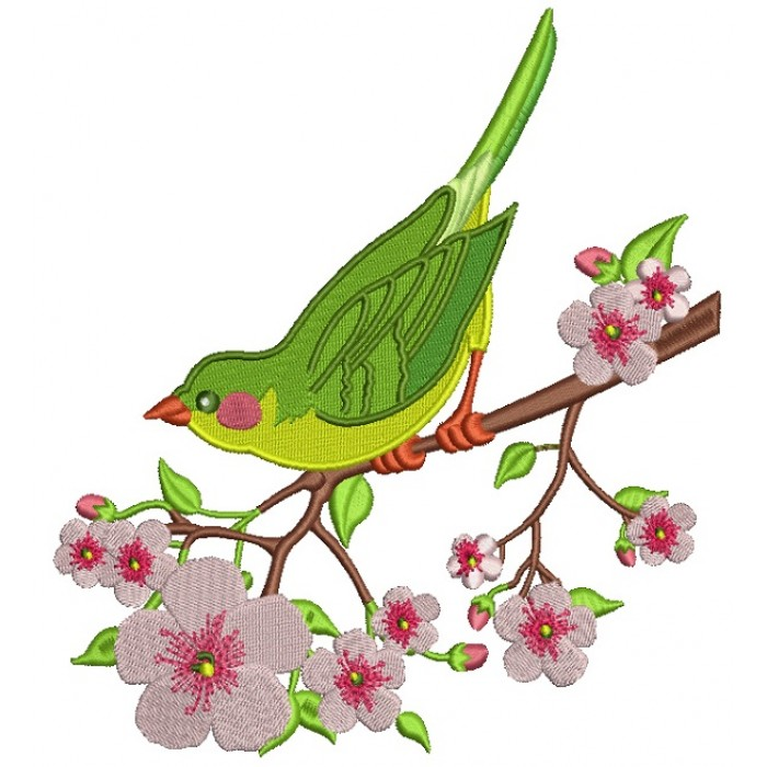 Spring Bird Sitting on the Branch Filled Machine Embroidery Design Digitized Pattern