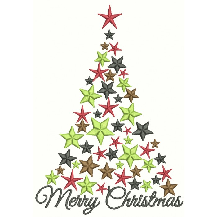 Star Merry Christmas Tree Filled Machine Embroidery Design Digitized Pattern