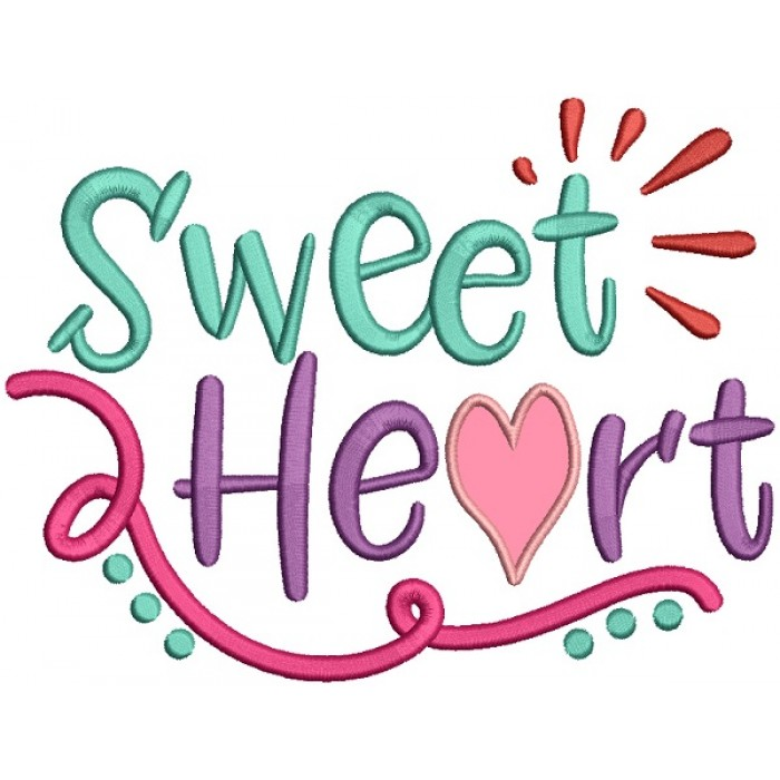 Sweet Heart Love Applique Machine Embroidery Design Digitized Pattern