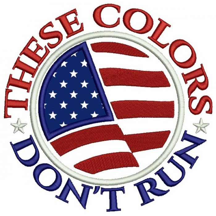 These Colors Don't Run American Flag Patriotic Applique Machine Embroidery Design Digitized Pattern