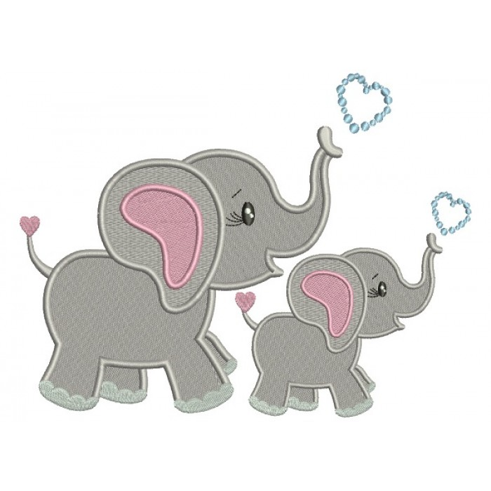 Two Cute Elephants With Hearts Filled Machine Embroidery Design Digitized Pattern