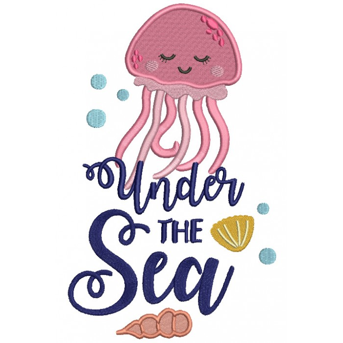 Under The Sea Cute Octopus Filled Machine Embroidery Design Digitized Pattern
