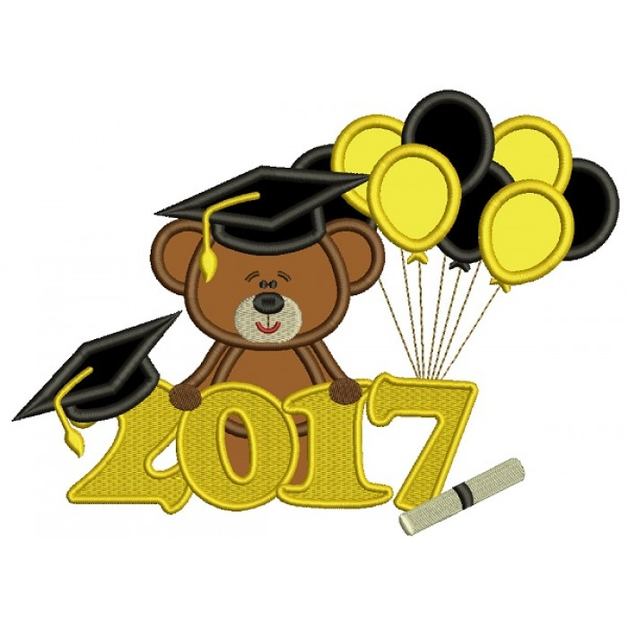 2017 School Graduation Bear With Balloons Applique Machine Embroidery Design Digitized Pattern