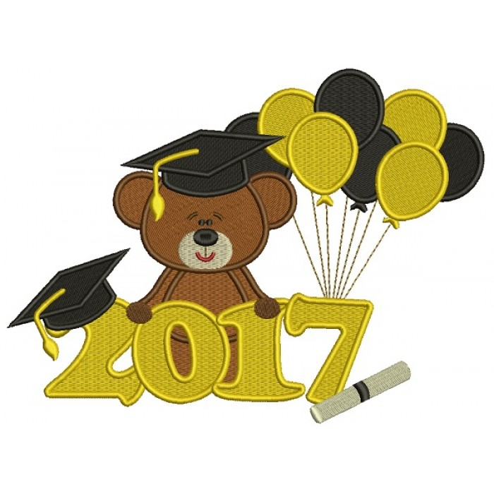 2017 School Graduation Bear With Balloons Filled Machine Embroidery Design Digitized Pattern