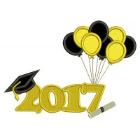 2017 School Graduation Diploma With Balloons Applique Machine Embroidery Design Digitized Pattern