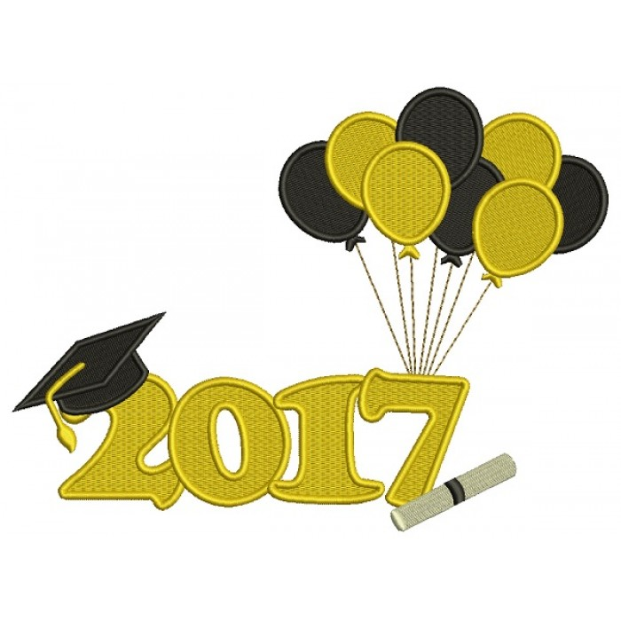 2017 School Graduation Diploma With Balloons Filled Machine Embroidery Design Digitized Pattern