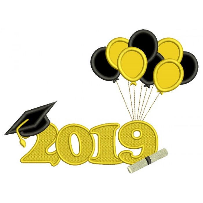 2019 Graduation Balloons Applique Machine Embroidery Design Digitized Pattern