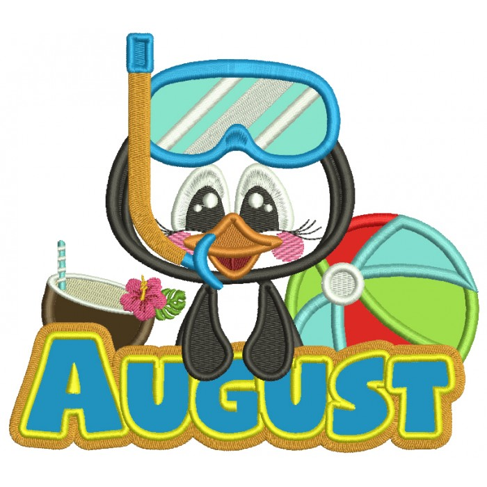 August Penguin With a Beach Ball Applique Machine Embroidery Design Digitized Pattern