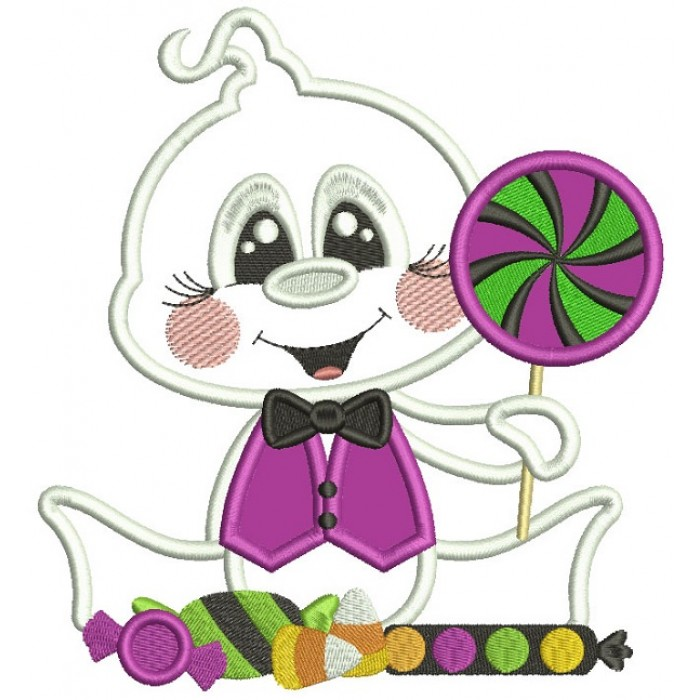 Baby Ghost Holding Candy Halloween Applique  Machine Embroidery Design Digitized Pattern