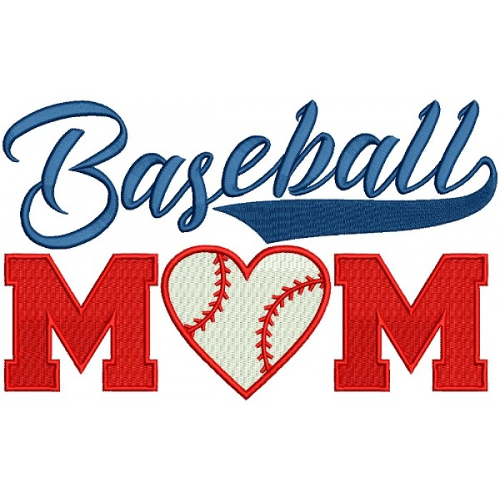 Baseball Mom With a Heart Sports Filled Machine Embroidery Design Digitized Pattern