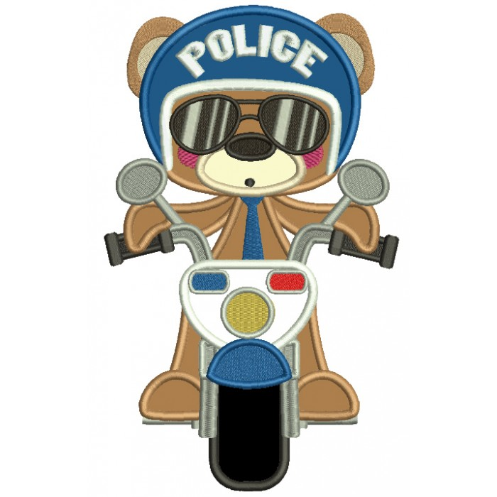 Bear Police Officer Applique Machine Embroidery Digitized Design Pattern