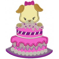 Birthday Cake With a Puppy Applique Machine Embroidery Design Digitized Pattern