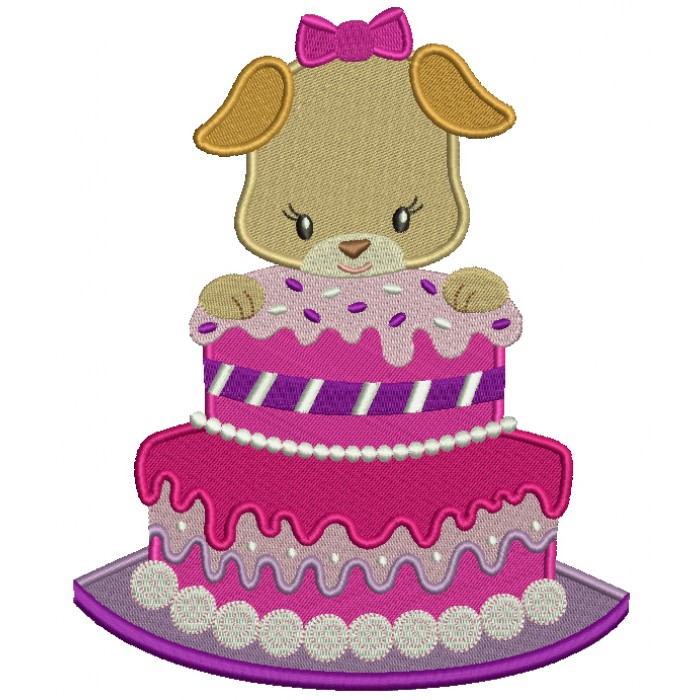 Birthday Cake With a Puppy Filled Machine Embroidery Design Digitized Pattern