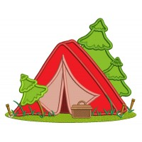 Camping Tent and Trees Applique Machine Embroidery Design Digitized Pattern
