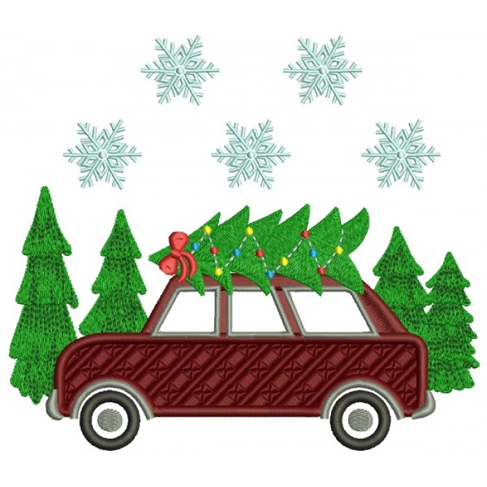 Car With a Christmas Tree On Top Filled Machine Embroidery Design Digitized Pattern
