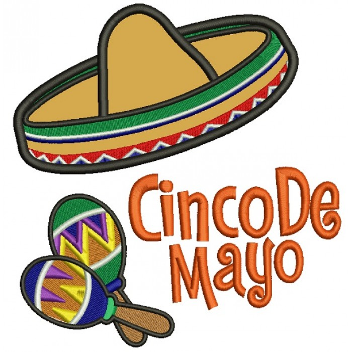 Cinco De Mayo Big Hat Applique Machine Embroidery Design Digitized Pattern