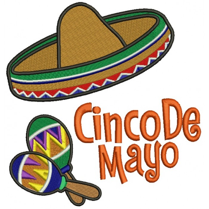 Cinco De Mayo Big Hat Filled Machine Embroidery Design Digitized Pattern