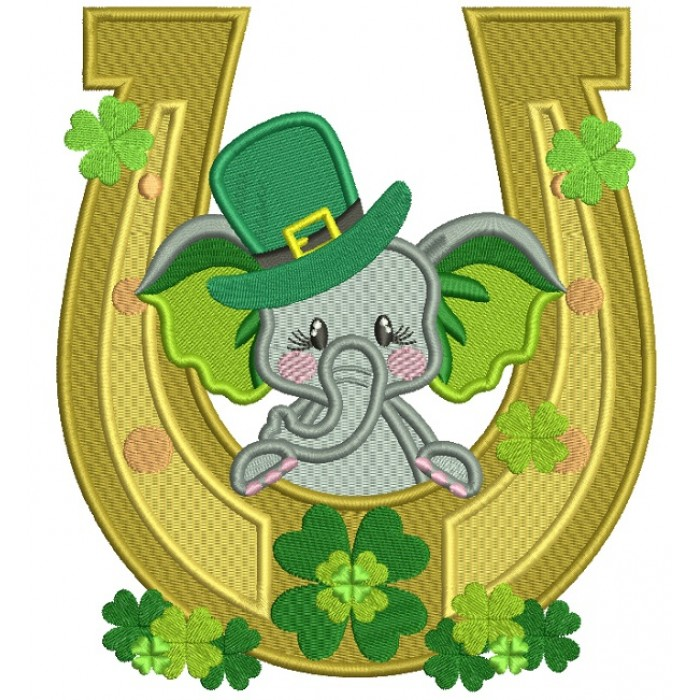 Cute Baby Elephant Behind a Lucky Horseshoe St. Patrick's Filled Machine Embroidery Design Digitized Pattern